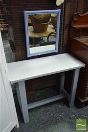 Sale 8499 - Lot 1614 - Timber Hall Table & Cane Framed Mirror (2)
