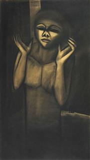 Sale 8606 - Lot 564 - Robert Dickerson (1924 - 2015) - Raised Hands 131 x 76cm
