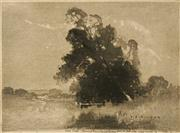 Sale 8583A - Lot 5028 - Lionel Lindsay (1874 - 1961) - Dora Creek (After J.J. Hilder) 16.5 x 23cm
