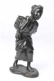 Sale 8698 - Lot 90 - Metal Sculpture of Lady with Basket, signed
