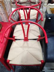 Sale 8740 - Lot 1118 - Set of Six Red Metal Wishbone Chairs with Rush Seat