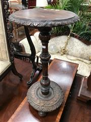 Sale 8848 - Lot 1065 - Small Victorian Oak Round Occasional Table, with carved rim and base, on a turned shaft