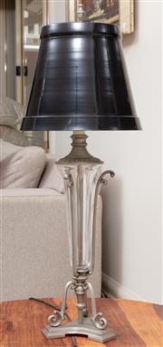 Sale 8868H - Lot 8 - A French art deco style glass and metal lamp with black enamelled shade, Height 78cm