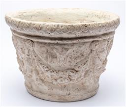 Sale 8960J - Lot 64 - A terracotta grey painted jardiniere with overall swag design, height 32, diameter 48cm