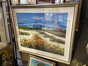 Sale 8910 - Lot 2052 - Claude - Country Hills and Flowersacrylic, 90 x 108cm (frame) signed