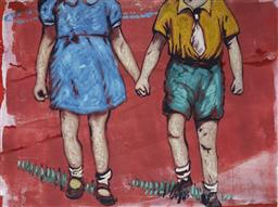 Sale 9099A - Lot 5031 - David Bromley (1964 - ) - Holding Hands 63 x 84.5 cm (frame: 101 x 120 x 4 cm)