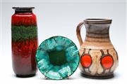 Sale 9090 - Lot 56 - West German pottery jug (H23cm) together with a red cylindrical vase (crackline) and an ashtray (Dia17cm)