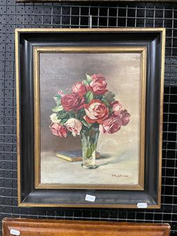 Sale 9127 - Lot 2016A - Falch Still With Roses, 1926 oil on board, frame: 45 x 37 cm signed and dated lower right -