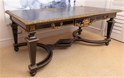 Sale 9130H - Lot 20 - A Louis XVI style desk of grand proportions with tooled leather inlay and ormolu fixtures, Height 107cm x Width 201cm x Depth 78cm