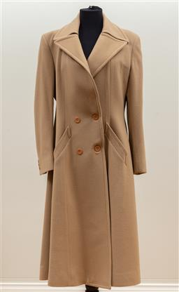 Sale 9165H - Lot 114 - A John Serafina double breasted overcoat in a latte wool and cashmere blend, silk lined with large lapels, Size M-L