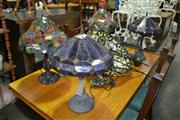 Sale 8093 - Lot 1084 - 2 Pairs of Glass Shade Table Lamps w Hanging Lamp