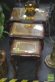 Sale 8272 - Lot 1019 - Timber Nest of Three Glass Top Tables