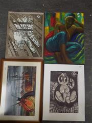 Sale 8422T - Lot 2020 - Collection of (4) various artworks, each famed