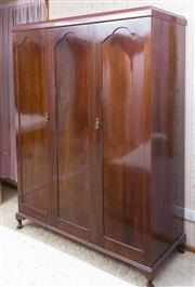 Sale 8515A - Lot 61 - Ensuite to the bed; a three panel door cedar wardrobe with internal hanging and shelving space, H 89 x W 142 x D 55cm
