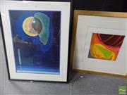 Sale 8509 - Lot 2010 - (2 works) Artist Unknown - Voyager II, screenprint, signed lower right; A Decorative Abstract Print.