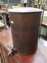 Sale 8740 - Lot 1019 - Vintage Copper Vat with Lid