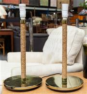 Sale 8746 - Lot 1030 - A pair of heavy bottomed rope twist lamps, H x 47cm