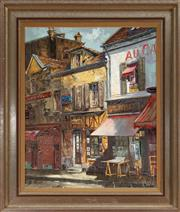 Sale 8868H - Lot 10 - YVO 65? French School (C20th) Shop Fronts, French Town, oil on canvas, 70cm x 59cm