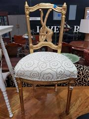 Sale 8904 - Lot 1038 - Pair of Gilt Carved Bedroom Chairs