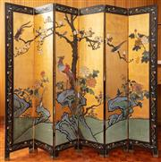 Sale 8990H - Lot 31 - A Chinese six fold carved and lacquered dressing screen depicting birds in a rocky landscape, Width of each panel 40cm x Height 215cm.