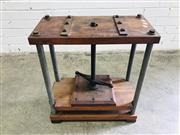 Sale 9092 - Lot 1096 - Vintage timber and metal bookpress (h:58 x w:53 x d:25cm)
