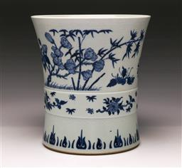 Sale 9122 - Lot 205 - A Blue And White Chinese Brush Pot featuring Birds (H: 23cm)