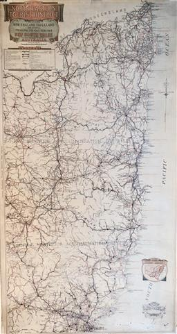 Sale 9142A - Lot 5057 - Map of North Eastern Tourist District NSW c1921, Department of Lands, Sydney NSW, featuring the area from Newcastle NSW to the Queen...