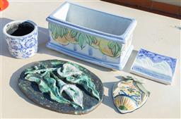Sale 9165H - Lot 57 - A ceramic faience trough together with a green glazed plaque with floral motif. Trough 28cm