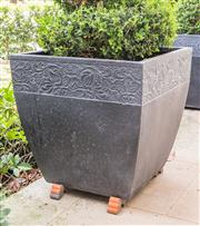 Sale 8298 - Lot 1 - Two Topiaried Box Hedges in Pots.