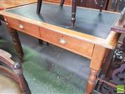 Sale 8428 - Lot 1096 - Edwardian Kauri Pine Desk, with black leather insert, two drawers & turned legs