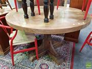 Sale 8554 - Lot 1058 - Round Recycled Elm Parquetry Top Pedestal Table (120cm)