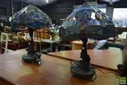 Sale 8550 - Lot 1236 - Pair of Leadlight Shade Table Lamps