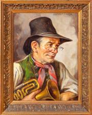 Sale 8562A - Lot 14 - SchcukMuller? - The Trumpeter 23 x 17cm
