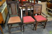 Sale 8566 - Lot 1620 - Set of 4 Oak Similar Dining Chairs