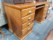 Sale 8688 - Lot 1072 - Modern Pine Twin Pedestal Desk