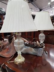 Sale 8717 - Lot 1041 - Pair of Cut Glass table Lamps