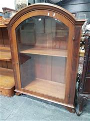 Sale 8917 - Lot 1004 - Early 20th Century Possibly German/ Austrian Walnut Cabinet Top Display Cabinet, with arched hood, bevelled glass panelled door & ou...
