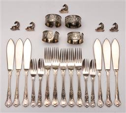 Sale 9110 - Lot 368 - Sundry silverplated table wares including Kings pattern cutlery, napkin rings and Dolphin place name holders.