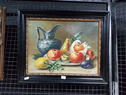 Sale 9127 - Lot 2016 - M. Cuppens Still Life with Jug and Fruit, 1956, oil on canvas, frame: 39 x 49 cm, signed and dated lower right -