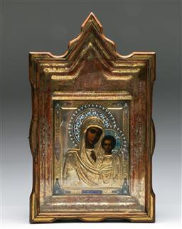 Sale 9138 - Lot 40 - A Russian Icon In Case Marked Moscow 1904 (46.5cm x 28cm)