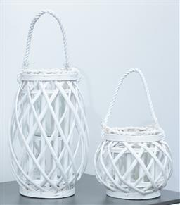 Sale 9150H - Lot 66 - A pair of graduating white painted bentwood lanterns with rope handles, height of taller 33cm
