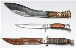 Sale 9144 - Lot 14 - A reproduction Kukri style knife (L:42cm) together with two other knives in sheaths incl. A German example