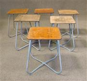 Sale 7968B - Lot 57 - Set of six army stools with grey metal bases