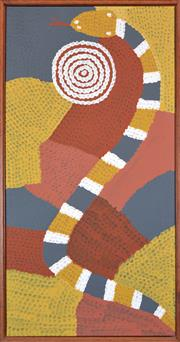 Sale 8409A - Lot 522 - Billy Stockman Tjapaltjarri (c1925 - ) - Snake Dreaming 84 x 47cm (stretched/framed & ready to hang)