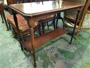 Sale 8559 - Lot 1075 - Edwardian Maple Occasional Table, with turned legs & lower tier