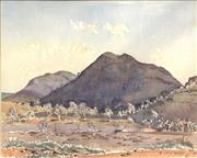 Sale 8682 - Lot 2048 - Rufus Morris - Dark Mountain Jerbois Range, watercolour, 58.5 x 68.5cm (frame size), signed lower right