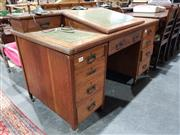 Sale 8724 - Lot 1039 - Timber 9 Drawer Clerks Desk with Lift Top Section and Turned Gallery -