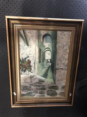 Sale 8811 - Lot 2014 - Artist Unknown Mediterranean Town Street Scene oil on canvas, 64 x 47cm (frame), signed lower right