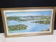 Sale 8958 - Lot 2064 - Ian Worchurst Sydney Harbour from above Abbotsford Bay oil on canvas board, 40 x 70cm (frame), signed