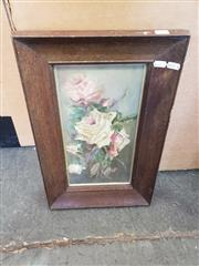Sale 8969 - Lot 2007 - Artist Unknown Still Life - Pink Roses oil on academic board, 32 x 50cm (frame), initialled A.L lower left